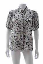 Prada imprimé soie chemise manches courtes/ noir, blanc, gris /