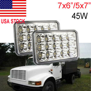 """Pair For Kenworth T300 1997-2010 7x6"""" 5x7 inch 45W LED Headlights High/Low Beam"""