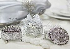 144 Silver 2.5 Inch Round Plastic Trinket Box Wedding Favor Table decorations