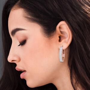 Natural 1.85 TCW Si/Hi Baguette Diamond Hoop Earrings 18k Rose Gold Fine Jewelry