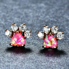 Cat Claw Sweet Pink  Fire Opal White Topaz Rose Gold Plated Stud Hook Earrings