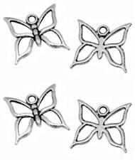 10 Antique Silver Butterfly Charms - Outline Butterflies NF LF