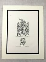 Antique Print German Nobility French Coat of Arms Crest Heraldry Heraldic Art