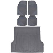 Rubber Carpet Floor Mats Car SUV Truck + Cargo Trunk Mat All Weather Proof Gray