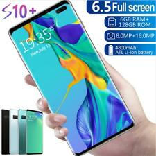 S10+ 6.5'' Unlocked 6+128G Smart Phone Android 9.1 Full HD Dual SIM Mobile 4G