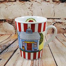 Harvest Coffee Mug Tea Cup Blue Apple Cottage Tree Red n White Stripe Mud Pie