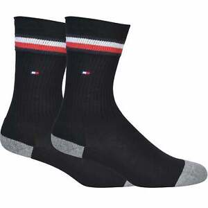 Tommy Hilfiger 2-Pack Iconic Kids Sport Socks, Black