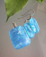 Blue Fused Dichroic Art Glass Jewelry Pendant Earrings Matching Set Handmade