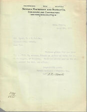 1918 NEVADA MACHINERY AND SUPPLY COMPANY LETTER TO VIRGINIA & TRUCKEE RAILROAD