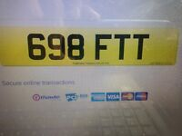 Cherished Number Plate Private Registration 698 FTT Dateless Plate.