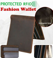 Vintage Mens Genuine Leather Wallet RFID Blocked Bifold Purse Credit Card Holder
