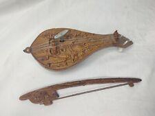 Vintage German Lyra Musical Instrument Wind Up MUSIC BOX Wooden Carved