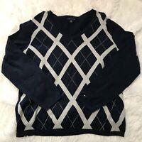 Tommy Hilfiger Womens Size XL Navy Blue Sweater White Pattern Long Sleeve EUC