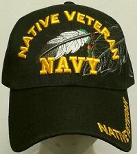 US NAVY NAVAL USN AMERICAN INDIAN NATIVE PRIDE EAGLE FEATHER VETERAN VET CAP HAT