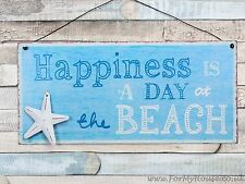 Happiness is … beach metal hanging sign