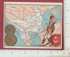 A262 Map of Bulgaria trade card Bulgarian coin costume cartography numismatic