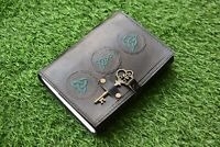 grimoire journal black green dragon with wiccan handmade spell leather book key