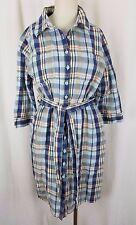 LL Bean Petite Plaid Linen Conversion Sleeve Summer Belted Shirt Dress Womens PL