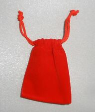 Red velvet drawstring gem pouch 3 1/2 by 2 3/4 inches