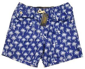 Polo Ralph Lauren Boys Blue Bear Palm Tree Graphic Print Traveler Swim Trunks