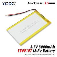 3.7V 3000mAh Li-Po Rechargeable Battery 3560107 For Tablet DVD GPS Power Bank 9