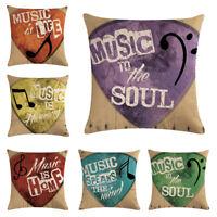 Guitar Note Linen Cotton Throw Pillow Case Cushion Cover Fashion Home Sofa Decor