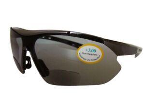 Bifocal Sports Sunglasses Black Brown Cycling UV400 Wrap Eye Protection