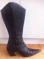 Ladies Dark Brown IRAMO Leather Cowboy Boots AUS Size 7 EU 38 Pointy Toe Oilskin