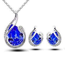 Earrings Simple Teardrop Crystal Earring Pendant Chain Necklace Jewelry Set
