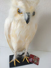 """Gothic Collection 11"""" Feather Standing Owl Table Figure Halloween Creepy White"""