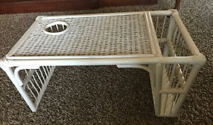 Lovely Vintage WHITE WICKER Breakfast in BED TRAY Lap Tray Shabby Chic Glamour
