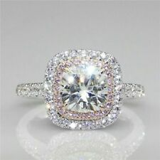 Certified 3.12ct White Pink Round Diamond Halo Engagement Ring in 14K White Gold