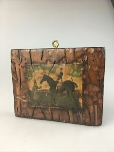 "VTG Primitive Art 1960's Horseback Decoupage 5.25"" x 4.25"" Mini Wall Plaque Wood"
