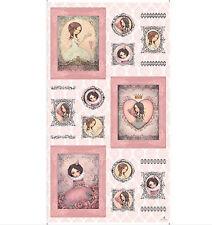 """Gorjuss Girl Santoro Heart Romance Cotton Fabric QT All For Love 24""""X44"""" Panel"""