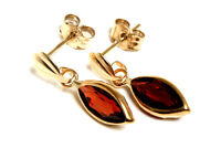 9ct Gold Garnet Drop Earrings  Gift Boxed Made in UK Birthday Gift