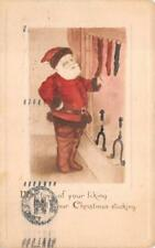 CHRISTMAS HOLIDAY SANTA CLAUS STOCKING STUFFERS OHIO EMBOSSED POSTCARD 1913