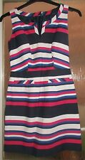 New Ladies NEXT Multi Colours Striped Sleeveless Cotton Blend Dress - Size 8