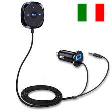 Per auto Aux Vivavoce Adattatore Bluetooth Speaker Smartphone Usb Jack 3.5mm IT