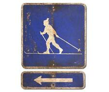 NEW! Cross Country Ski Crossing & Arrow Sign Vintage Cabin Sign Weathered Rustic