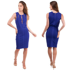 RRP €235 MARCIANO GUESS Bodycon Dress Size 3 / M Stretch Knit Lace Up Textured
