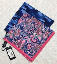 """CREMIEUX Silk Pocket Squares 16 x 16"""" New Handkerchiefs Multi-Color Set Of 2"""