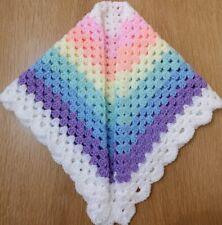 🦄Hand crocheted baby's blanket/shawl/car seat/pram/crib Unicorn Colour Dk wool