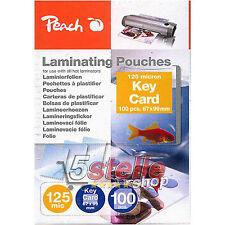 Peach 100 POUCHES PORTA BADGE 7x10cm 125 MICRON PER PLASTIFICATRICE A CALDO