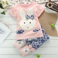 Novelty Toddler Kids Baby Girl Short Sleeve T-Shirt +Pants Bunny Outfit Clothes