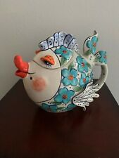 Blue Sky Clayworks Whimsical Fish Teapot