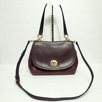 COACH Faye Brown Leather and Suede Convertible Shoulder Crossbody Bag F22348