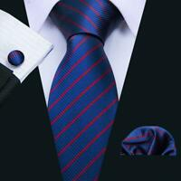 USA Barry Wang Mens Tie Ties Blue Striped Necktie Classic Silk Set Woven Formal