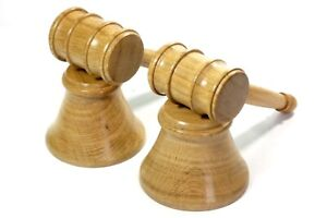 Pair of Gavels & Blocks English Oak Handmade Tommy Woodpecker Woodworks