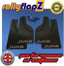 rallyflapZ NISSAN JUKE Facelift 2015+ Mud Flaps & Fixings -Black /Silver 4mm PVC