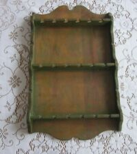 Vintage Souvenir Spoon Collector Wooden Wall Rack Display Holder